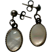 SALE Mother of Pearl Pierced Dangle Earrings