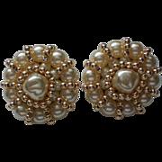SALE Large FAZIO faux Pearl Clip Earrings