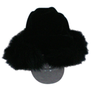 Black Velvet Hat trimmed in Black Fox Fur