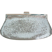 Silver Metal Mesh Clutch Evening Bag with Shoulder Chain