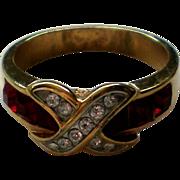 Ruby Red Rhinestone Cross Over Ring