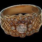 Avon NV Rhinestone Gold Tone Ring