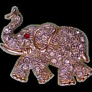 SALE Lucky Elephant Rhinestone Brooch