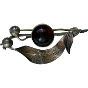 SALE Vintage Metal Mourning Brooch with Blood Red Glass Cabochon