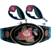 SALE Cloisonne Bracelet with Pierced Cloisonne Earrings