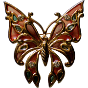 SALE Rhinestone Jeweled Butterfly Pin by SFJ