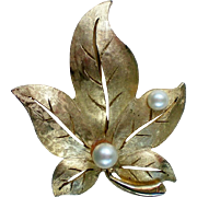 SALE Autumn Golden Leaf Pin with faux Pearls