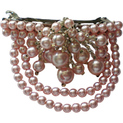 SALE Pink Faux Pearl Hair Ornament or Clip
