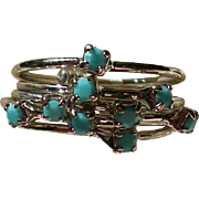 SALE Turquoise Blue Glass Stacking Ring