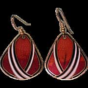 SALE Modernist Metal Dangle Earrings
