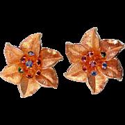 SALE Judy Lee Gold tone Star Flower Clip Earrings
