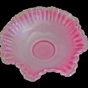 """Fenton Pink Crest 10"""" Double Crimped Bowl"""