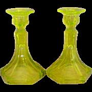 SALE Vaseline Uranium Glass Candlesticks
