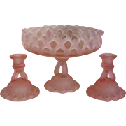 SALE Pink Satin Glass Center Bowl with Matching Candlesticks