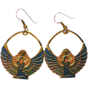 SALE Egyptian Revival Goddess Isis or Maat Dangle Pierced Earrings