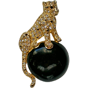 SALE Napier Leopard / Panther Pin with Circus Ball