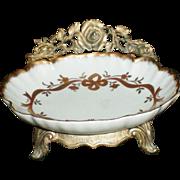 SALE Matson Ceramic Soap Dish in Metal Rose Pattern