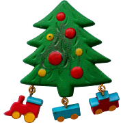 SALE Molded Christmas Tree Pin with Toy Train