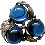 Joseff of Hollywood Blue Cabochon Grape Cluster Pendant or Brooch