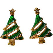 SALE Christmas Tree Pierced Earrings