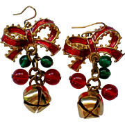 SALE Holiday Christmas Bow with Jingle Bells Pierced Earrings