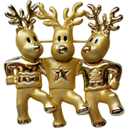 SALE Three Dancing Reindeer Pin from AJC