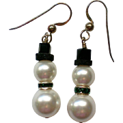 SALE Faux Pearl Snowman Pierced Earrings for the Holidays