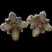 Hobe Aurora Borealis & Milk Glass Clip Earrings