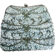 Silver Sequin Beaded Bag or Purse