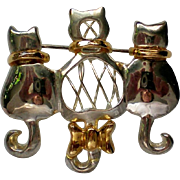 Three Cats or Kittens Silver & Gold tone Pin