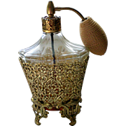 24 KT Gold Plated Ormolu Perfume Bottle with Atomizer by Globe