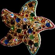 Multi Colored Rhinestone Starfish Pin