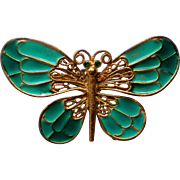 Turquoise Blue Enameled Butterfly Pin