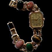 Kenneth Jay Lane KJL Egyptian Revival Scarab Bracelet Watch