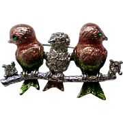 Three Birds on a Branch Pin