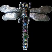 Sparkling Rhinestone Studded Dragonfly Pin