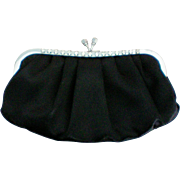 Satin Evening Clutch Bag with Rhinestones by Daido