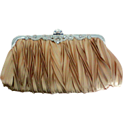 Gold Satin Rhinestone Evening Clutch Purse