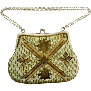 Vintage Small Gold Beaded Evening Bag