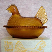 SALE Indiana Glass Gold Hen on a Nest in Original Box