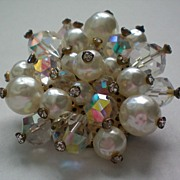 SALE Dazzling Faux Blister Pearl and AB Beaded Brooch