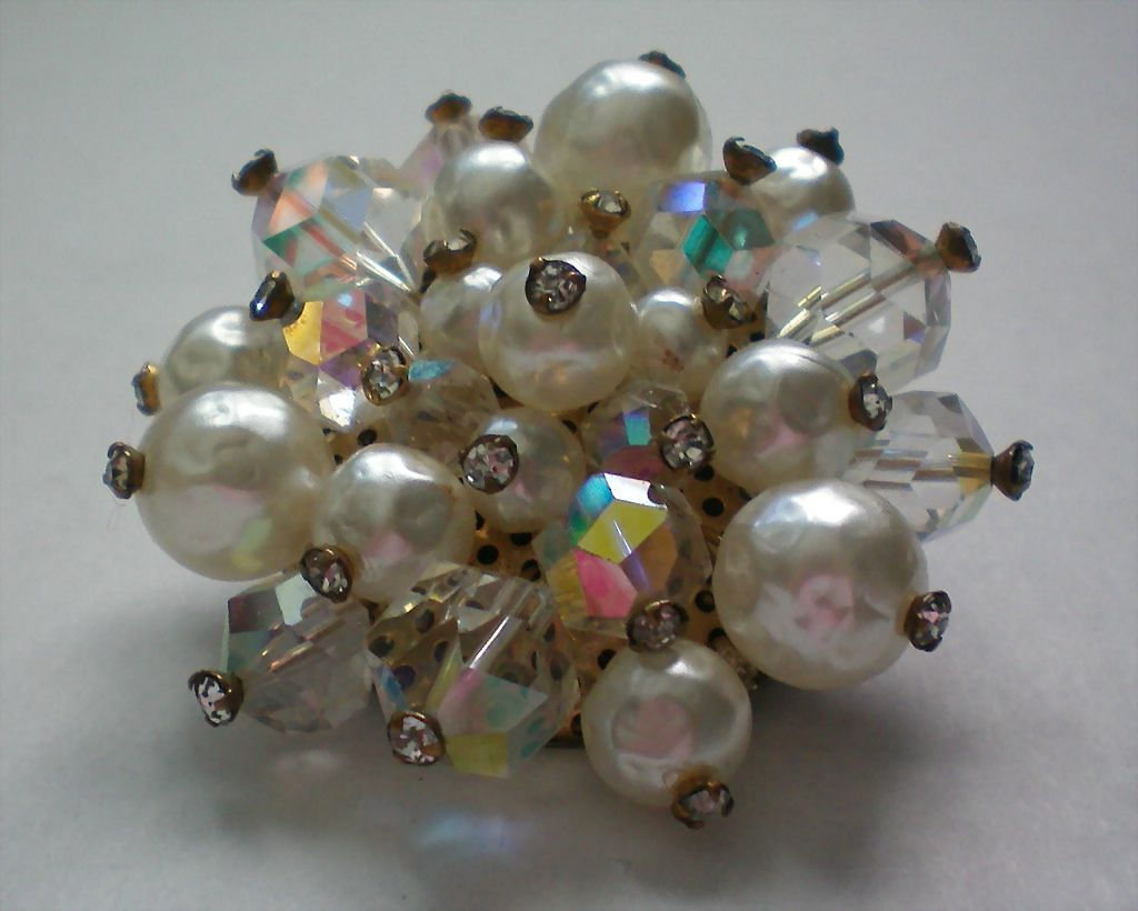 Dazzling Faux Blister Pearl and AB Beaded Brooch