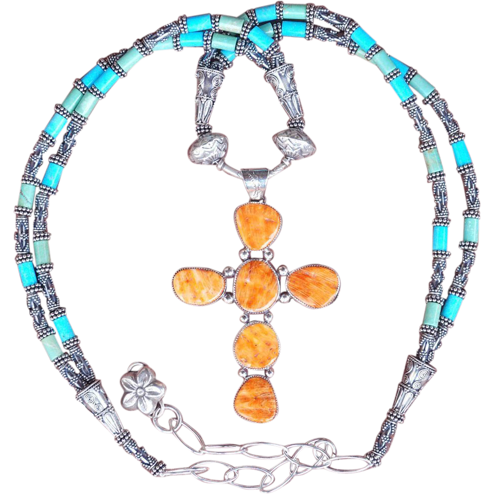 Museum Certified Natural Sleeping Beauty Turquoise, and Spiny Oyster Necklace