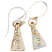 24k Gold Fired Over Copper Athena Triangle Earrings