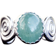 Fine Silver Scroll Aventurine Ring, size 7 1/4