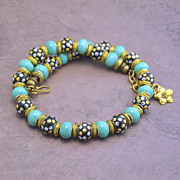 Think Spring Golden Tone Handmade Kashmiri Bead Necklace