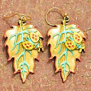 Chimayo Hand Patinaed Adobe Brown Lady Bug Leaf Earrings