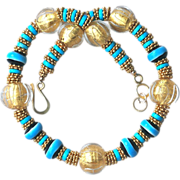 Murano Glass, Bali Vermeil, Lampwork Beads and Natural Turquoise Necklace