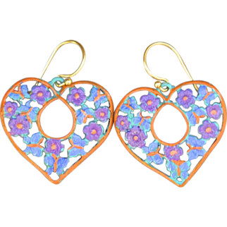 SALE Hand-patinaed heart earrings