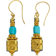 SOLD Rare Untreated Sleeping Beauty Turquoise and 24K Gold Vermeil Earrings